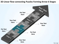 Linear Flow Connecting Puzzles Forming Arrow 6 Stages Making Business Plan PowerPoint Slides