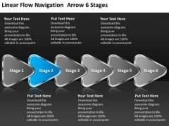 Linear Flow Navigation Arrow 6 Stages Best Chart PowerPoint Templates