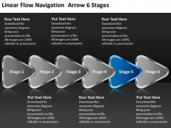Linear Flow Navigation Arrow 6 Stages Chart Slides PowerPoint Templates
