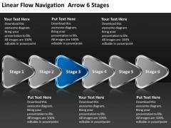 Linear Flow Navigation Arrow 6 Stages Flowchart Creator PowerPoint Slides