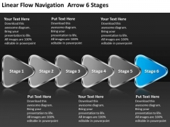 Linear Flow Navigation Arrow 6 Stages Ppt Open Source Flowchart PowerPoint Templates