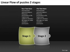 Linear Flow Of Puzzles 2 Stages Business Tech Support PowerPoint Slides