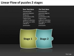 Linear Flow Of Puzzles 2 Stages Electrical Schematic Symbols PowerPoint Templates