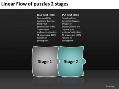 Linear Flow Of Puzzles 2 Stages Ppt Process Charts Examples PowerPoint Templates