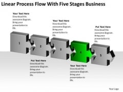 Linear Process Flow With Five Stages Business Ppt Buy Plans PowerPoint Templates