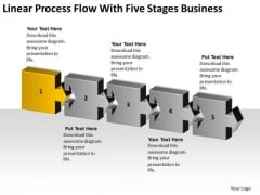 Linear Process Flow With Five Stages Business Ppt How To Do Plan PowerPoint Templates