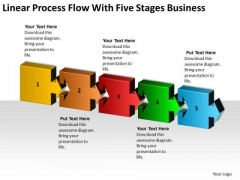Linear Process Flow With Five Stages Business Ppt Plan Guidelines PowerPoint Templates