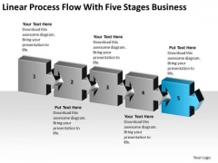 Linear Process Flow With Five Stages Business Ppt Plan Models PowerPoint Templates