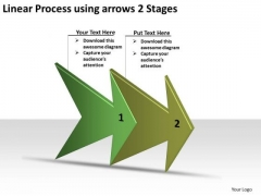 Linear Process Using Arrows 2 Stages Online Flow Chart Creator PowerPoint Slides