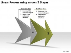 Linear Process Using Arrows 2 Stages Ppt Schematic Design PowerPoint Templates