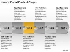 Linearly Placed Puzzles 6 Stages Flow Chart Template PowerPoint Slides