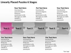 Linearly Placed Puzzles 6 Stages Process Flow Chart For Manufacturing PowerPoint Templates