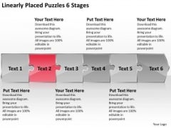 Linearly Placed Puzzles 6 Stages Sample Flow Charts PowerPoint Templates
