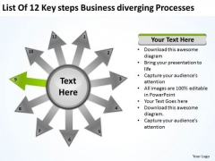List Of 12 Key Steps Business Diverging Processes Radial Diagram PowerPoint Templates