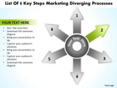 List Of 6 Key Steps Marketing Diverging Processes Circular Spoke Chart PowerPoint Templates