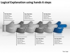 Logical Explanation Using Hands 6 Steps Network Map PowerPoint Slides