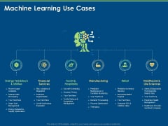 Machine Learning Implementation And Case Study Machine Learning Use Cases Ppt Layouts Good PDF