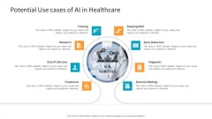 Machine Learning PPT Slides Potential Use Cases Of AI In Healthcare Slides PDF