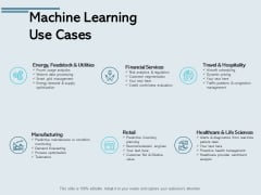 Machine Learning Use Cases Ppt PowerPoint Presentation Summary Show