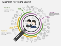 Magnifier For Team Search Powerpoint Template