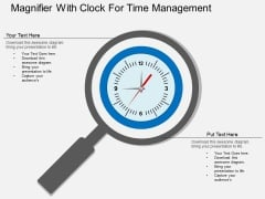 Magnifier With Clock For Time Management Powerpoint Template