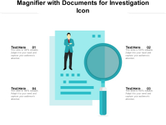 Magnifier With Documents For Investigation Icon Ppt PowerPoint Presentation File Slideshow PDF