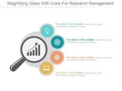 Magnifying Glass With Icons For Research Management Ppt PowerPoint Presentation Influencers