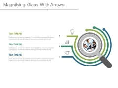Magnifying Glass With Team And Icons Powerpoint Slides