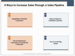 Main Revenues Progress Levers For Each Firm And Sector 4 Ways To Increase Sales Through A Sales Pipeline Slides PDF