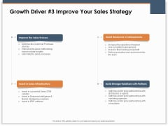 Main Revenues Progress Levers For Each Firm And Sector Growth Driver 3 Improve Your Sales Strategy Demonstration PDF