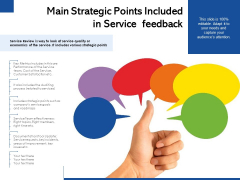 Main Strategic Points Included In Service Feedback Ppt PowerPoint Presentation File Skills PDF
