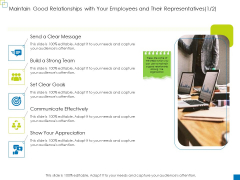 Maintain Good Relationships With Your Employees And Their Representatives Formats PDF