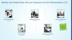 Maintain Good Relationships With Your Employees And Their Representatives Icon Demonstration PDF
