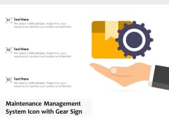 Maintenance Management System Icon With Gear Sign Ppt PowerPoint Presentation Summary Maker PDF