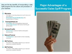 Major Advantages Of A Successful Sales Spiff Program Ppt PowerPoint Presentation Gallery Infographic Template PDF
