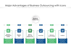 Major Advantages Of Business Outsourcing With Icons Ppt PowerPoint Presentation Gallery Outline PDF