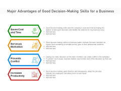 Major Advantages Of Good Decision Making Skills For A Business Ppt PowerPoint Presentation Infographics Samples PDF