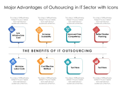 Major Advantages Of Outsourcing In IT Sector With Icons Ppt PowerPoint Presentation Gallery Infographics PDF