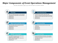 Major Components Of Event Operations Management Ppt PowerPoint Presentation Gallery Outline PDF
