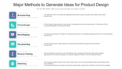 Major Methods To Generate Ideas For Product Design Ppt PowerPoint Presentation File Slides PDF