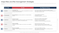 Major Risks And Risk Management Strategies Icons PDF