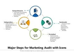 Major Steps For Marketing Audit With Icons Ppt PowerPoint Presentation Gallery Rules PDF