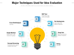 Major Techniques Used For Idea Evaluation Ppt PowerPoint Presentation Gallery Background Image PDF