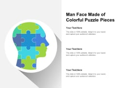 Man Face Made Of Colorful Puzzle Pieces Ppt PowerPoint Presentation Professional Styles PDF