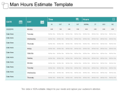 Man Hours Estimate Template Ppt PowerPoint Presentation Styles Infographics