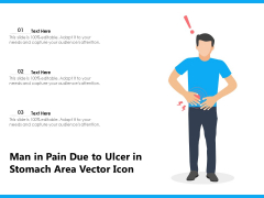 Man In Pain Due To Ulcer In Stomach Area Vector Icon Ppt PowerPoint Presentation Pictures Example File PDF