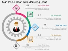 Man Inside Gear With Marketing Icons Powerpoint Template