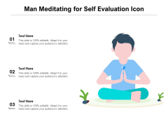 Man Meditating For Self Evaluation Icon Ppt PowerPoint Presentation Summary Structure PDF
