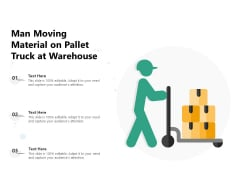 Man Moving Material On Pallet Truck At Warehouse Ppt PowerPoint Presentation File Shapes PDF