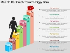 Man On Bar Graph Towards Piggy Bank Powerpoint Templates